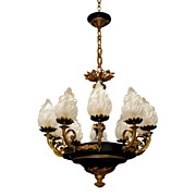 SALE 5919 Fine Quality Tole and Bronze French Empire Chandelier