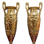 SALE 5987 Spectacular Pair of Antique WMF Silver Plated Figural Carved Vases