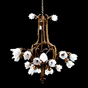 SALE 6019 American Victorian Chandelier with Bronze Frame & Glass Flower Shades