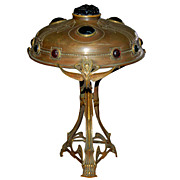 REDUCED 6042 Antique Bronze Art Nouveau Lamp with Colored Chunk Jewels