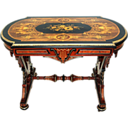 SALE 6077 Intricately Detailed Renaissance Revival Rosewood & Walnut Inlaid Table