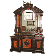 SALE 6130 Victorian Sideboard with Over Mirror and Deer Head, c 1875