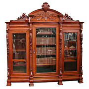 SALE 6143 Walnut Figural 3-Door Bookcase with Carved Ladies, Roses & Crest