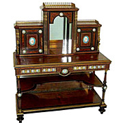 SALE 6149 Magnificent Early 19th C. Burled Walnut and Bronze Mounted 2-Pc. Writing Desk ...