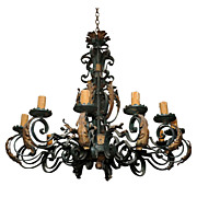 SALE 617 French Late 19th C. Wrought Iron Chandelier