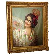 SALE 6302 19th C. Oil on Canvas Spanish Dancer w/Fan Signed E. Apesregia