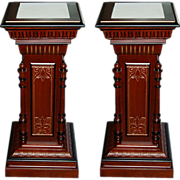 SALE 6350 Pair of Antique American Renaissance Revival Walnut and Burl Gilt Incised Pedestals