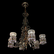 SALE 6356 Hanging Oil Bronze & Iron Chandelier w/Intricate Detailing