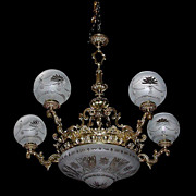 SALE 6362 19th C. Bronze Antique Chandelier