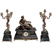 SALE 6431 3-Piece Marble & Bronze Figural Mantel Clock Set
