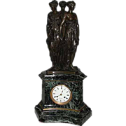 SALE 6492 Bronze & Marble Mantel Clock of The Three Graces