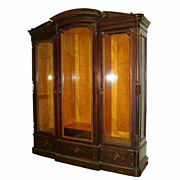 SALE 6521 American Renaissance Rosewood 3-Door Bookcase with Fabulous Birds Eye Maple Interior