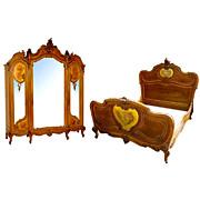 SALE 6537 Louis XV Bed & 3-Door Armoire