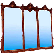 SALE 6563 Monumental 19th C. Renaissance American Walnut 11' Triptych Mirror w/Bronze Plaques