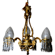 SALE 6569 Cast Bronze Six Arm Chandelier with Goat Head & Glass Bullet Shades
