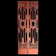 SALE 6579 Pair of Beaux Arts Style Cast Iron Entrance Gates c. 1890
