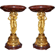 "SALE 6657 Pair of Bronze & Marble ""Griotte"" Urns by H. Picard"