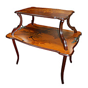 REDUCED 6674 Beautiful Two-Tier Inlaid Art Nouveau Side Table by Emile Gallé