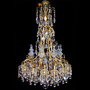 SALE 6678 19th C. Bronze and Crystal Chandelier