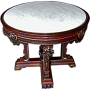 SALE 6790 American Renaissance Revival Rosewood Marble Top Center Table