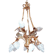 SALE 681 12-Light French Empire Chandelier with Swans & Bronze Ties