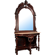 SALE 6933 American Renaissance Carved Walnut Marble Top Console and Matched Arched Top Mirror