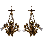 SALE 6944 Pair of Bronze Chandeliers with Nine Lights