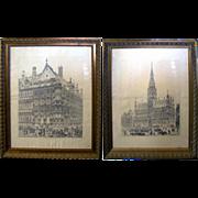 SALE 6959 Pair of Framed Church Prints