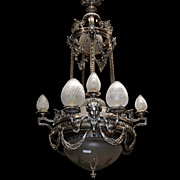 SALE 6991 Antique 19th C. Silver Over Bronze Chandelier with Female Masks