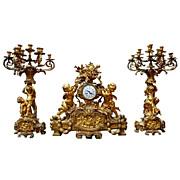 SALE 6993 Louis XVI Gilt Bronze 3-PIece Figural Clock Garniture, 19th c French