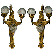 SALE 6996 Pair of French Bronze Winged Sconces
