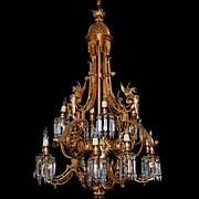SALE 6997 Antique 19th C. Gilt Bronze Griffin Chandelier