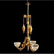 REDUCED 7007 Gilt Bronze Chandelier with Weights & Cherubs