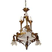 SALE 7016 French Bronze Art Nouveau Chandelier