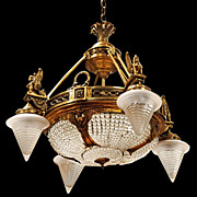 SALE 7030 Empire Gilt Chandelier with Winged Female Sphinxes