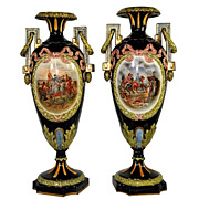 SALE 7085 Pair of Signed Napoleon Majolica Vases
