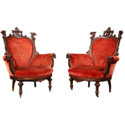 SALE 7144 Pair of Victorian Carved Walnut Eagle Arm Chairs
