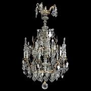 REDUCED 7173 Gothic Revival Gilt Bronze Iron & Glass 12-Light Chandelier
