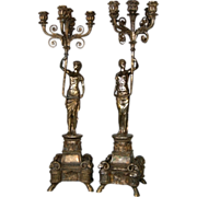 SALE 7193 Pair of Silver Over Bronze Female Figural 5-Arm Candelabras