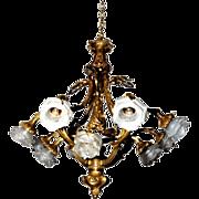 SALE 7221 19th C. Rococo Bronze Chandelier
