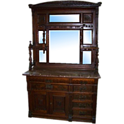 SALE 7227 Eastlake Walnut Sideboard with Marble Top