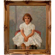 SALE 7244 Antique Oil on Canvas Portrait of a Young Girl signed Willie