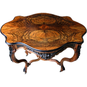 SALE 7267 Carved Burled Walnut Rococo Table