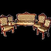 SALE 7279 19th C. 5-Piece Rosewood Rococo Parlor Set