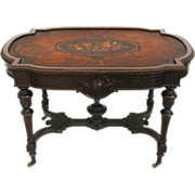 SALE 7298 American Renaissance Revival Rosewood Inlaid Table