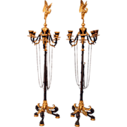 SALE 7301 Pair of Figural Regency Bronze 6-Arm Candelabras