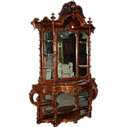 SALE 7302 Antique Rococo Carved Rosewood Étagère by Thomas Brooks