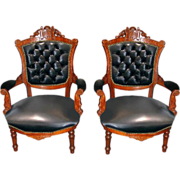 SALE 7406 Pair of Victorian Carved Walnut Arm Chairs c. 1880