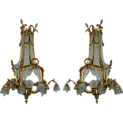 SALE 7550 Pair of 19th C. French Doré Bronze & Crystal Chandeliers