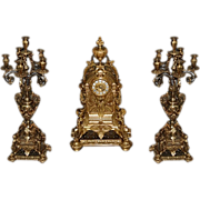 SALE 7483 3-Pc. 19th Century Matching Bronze Clock Set